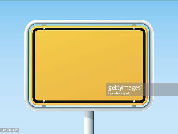 blank german city road sign - human settlement stock illustrations, clip art, cartoons, & icons