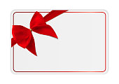 Blank Gift Card Template with Bow and Ribbon. Vector Illustration for Your Business