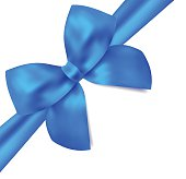 Blank Gift certificate / voucher template with isolated blue bow (ribbons