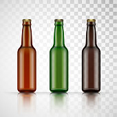 Blank glass beer bottle for new design. Vector illustration