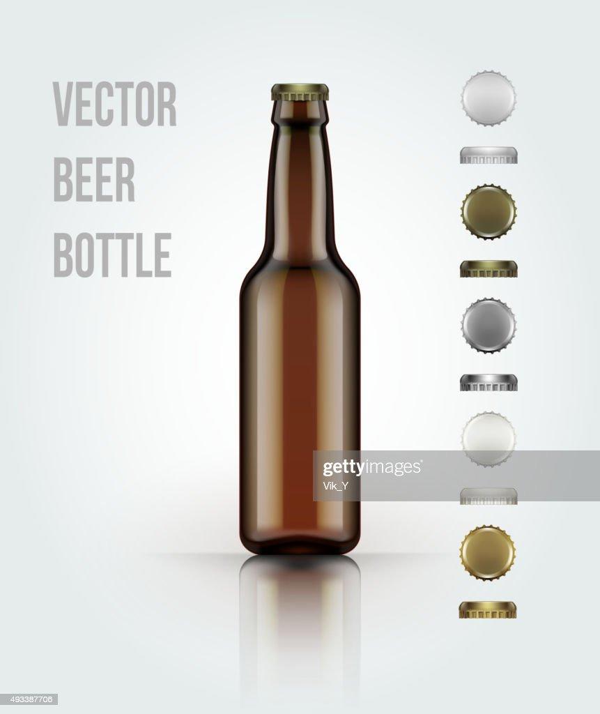 Blank glass beer bottle for new design. Vector illustration