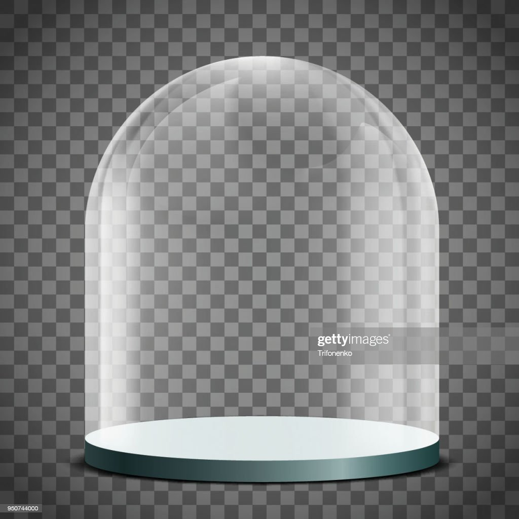 Blank glass dome on a transparent background