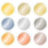 Blank glossy vector stickers in gold, red gold, platinum, silver, bronze, copper, aluminum. Which can be used as a coin, labels, buttons