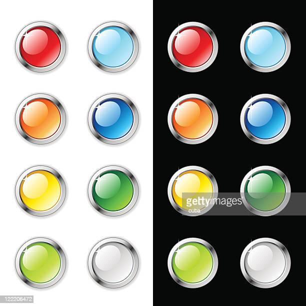 ilustraciones, imágenes clip art, dibujos animados e iconos de stock de blanco brillante web botones, aislado en blanco y negro - doble exposicion negocios