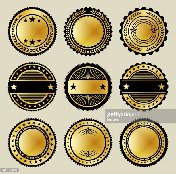 Blank Gold & Black Buttons Full Color Set