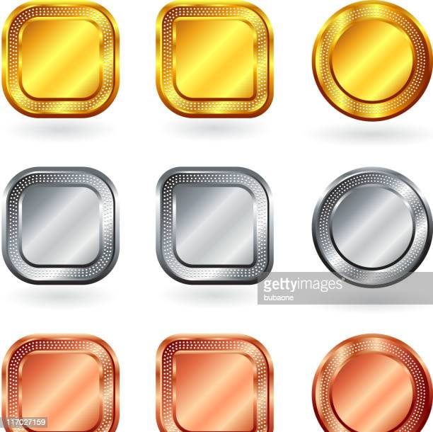 blank gold silver bronze internet buttons
