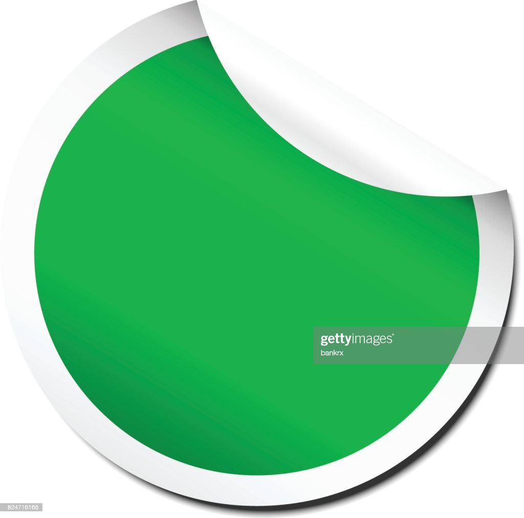 Blank green peel off sticker template