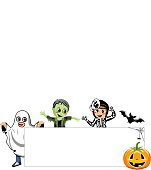 Blank Halloween Banner kids costume isolated