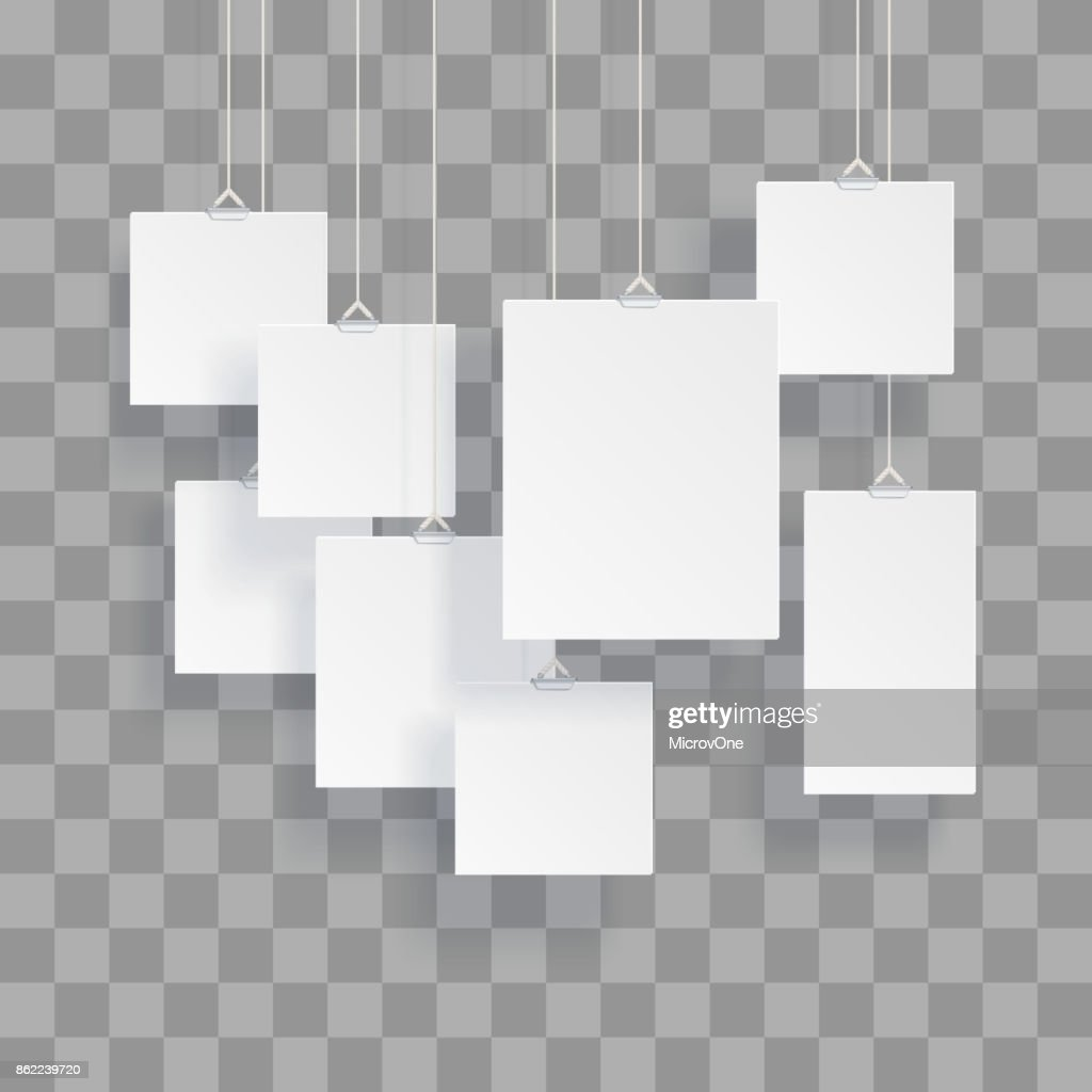 Blank hanging photo frames or poster templates isolated on transparent background