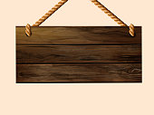 Blank hanging wood plank sign