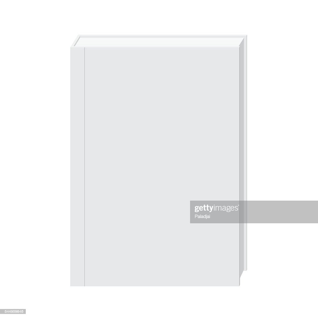 Blank hardcover white book stand mock up vector.