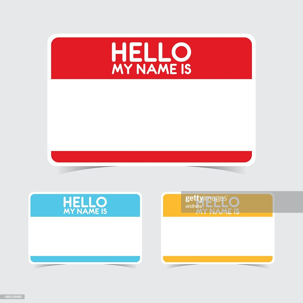 Blank Hello My Name Is Name Tag Stickers