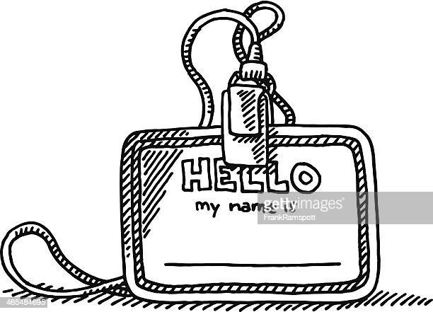 blank hello name tag drawing - verification stock illustrations, clip art, cartoons, & icons