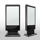 Blank interactive outdoor kiosk. Digital tv standing touch screen isolated vector mockup