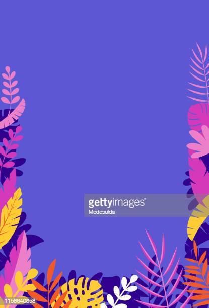 熱帯の木の葉を持つ空白の招待状 - ユーカリの葉点のイラスト素材/クリップアート素材/マンガ素材/アイコン素材