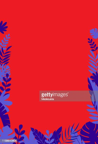 Blank invitation card with tropical tree leaves