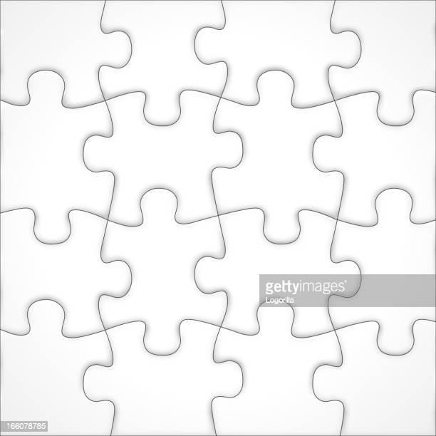blank jigsaw vector - jigsaw piece stock illustrations, clip art, cartoons, & icons