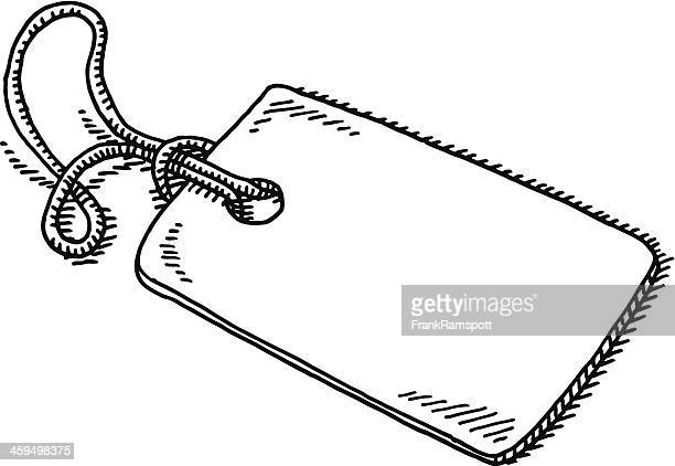 blank label string drawing - luggage tag stock illustrations, clip art, cartoons, & icons