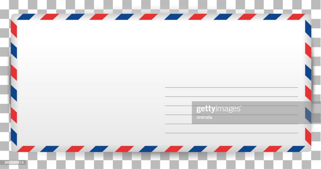 Blank letter template of Santa Claus on transparent background. Envelope for writing airmail