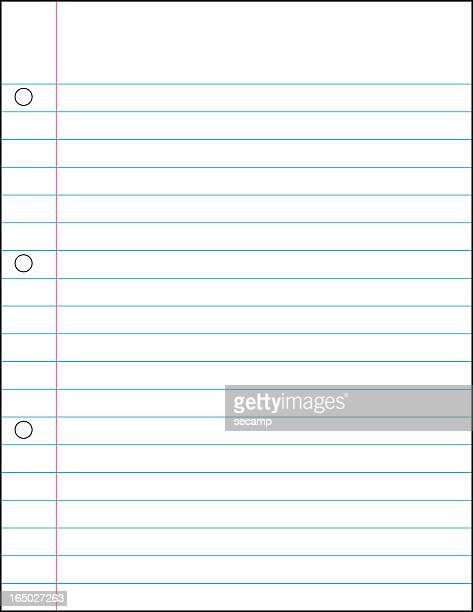 Blank lined notebook paper with three holes in the margin