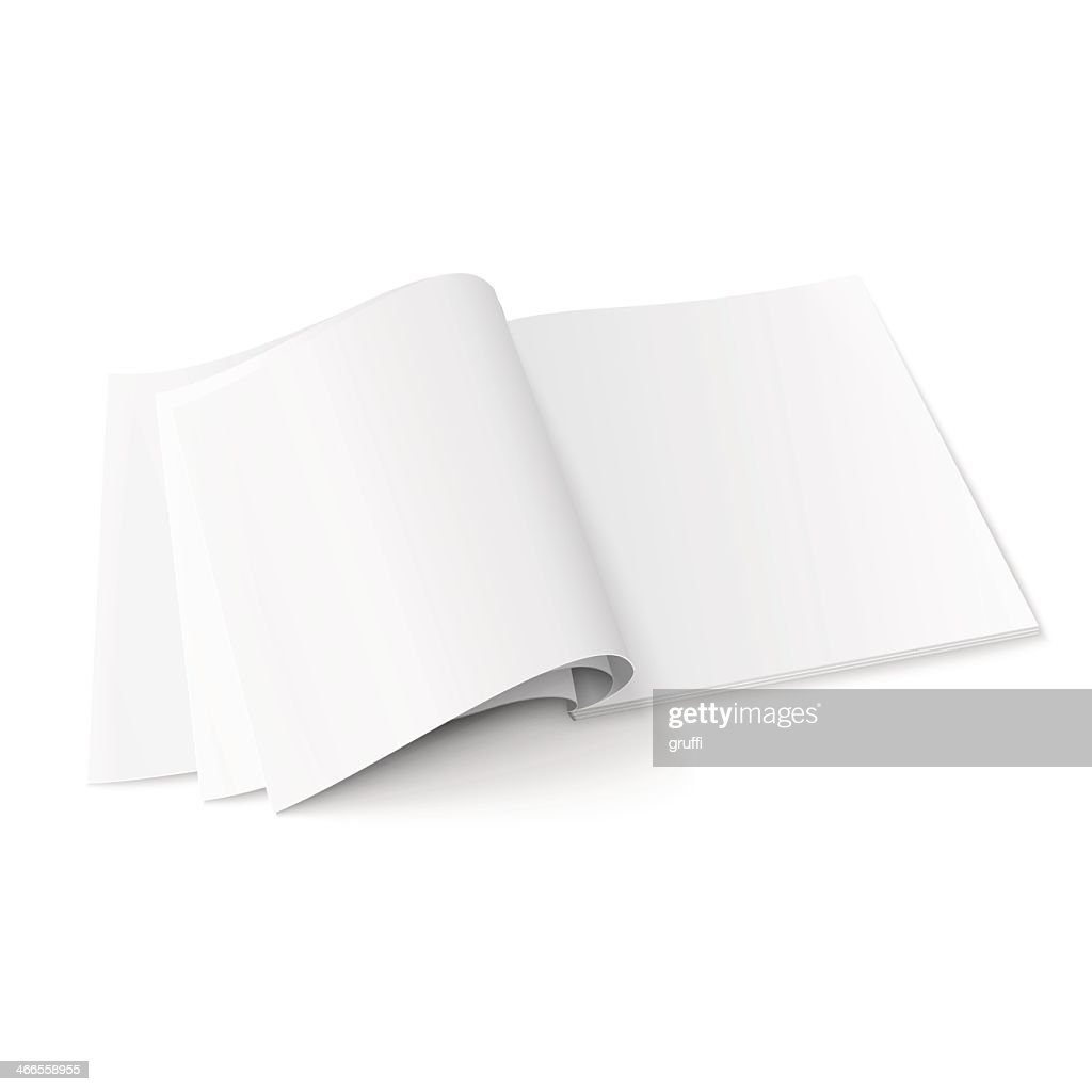 Blank magazine open with pages flipped on a white background