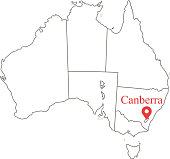 Blank map of Australia with states and territories borders vector outline and capital location Canberra