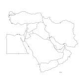 Blank map of Middle East, or Near East. Simple flat outline vector ilustration