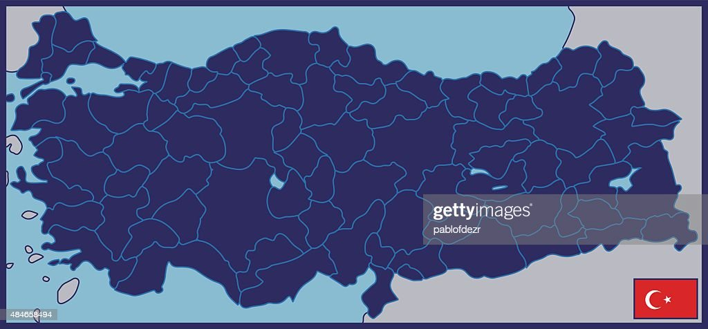 Blank Map of Turkey with Flag