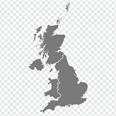 Blank map of United Kingdom. High quality map of  Great Britain with provinces on transparent background for your web site design, logo, app, UI. UK. EPS10.