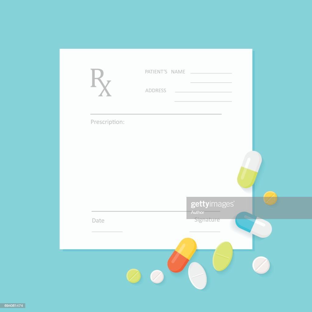 Blank Medicine Prescription Form and Pills
