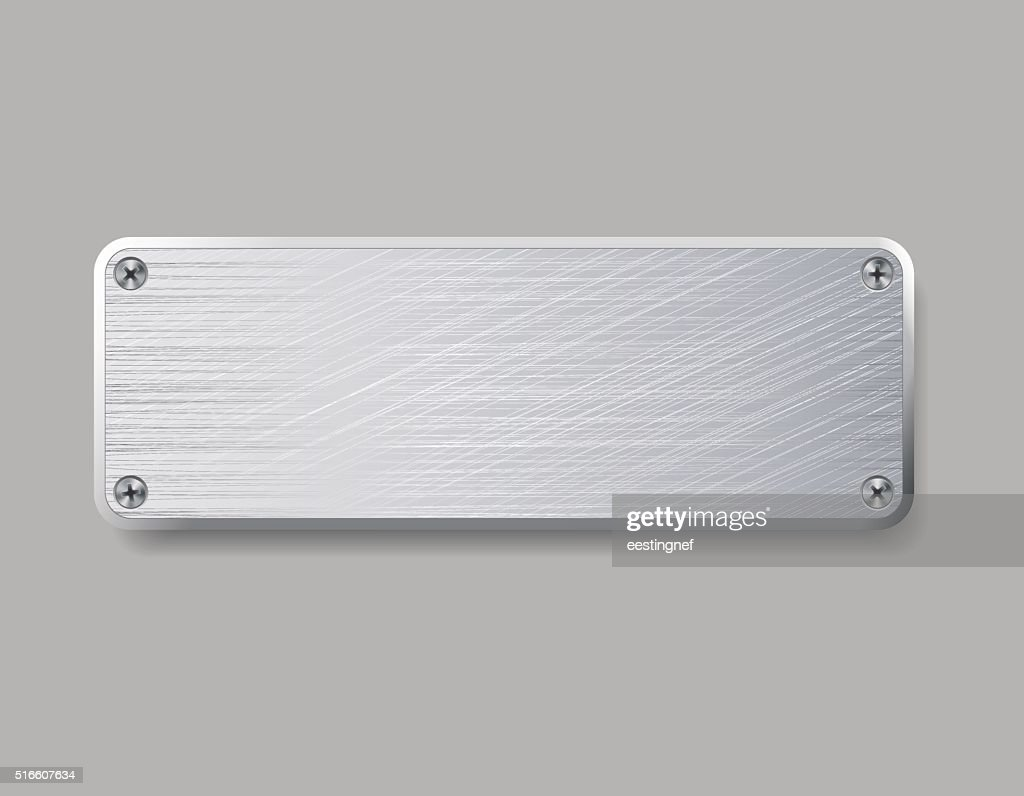 Blank metal plate isolated on gray background.