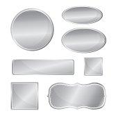 Blank metallic icon set silver color
