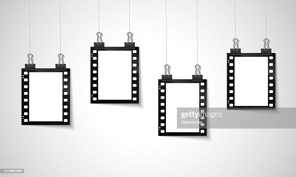 Blank negative film hanging on a line