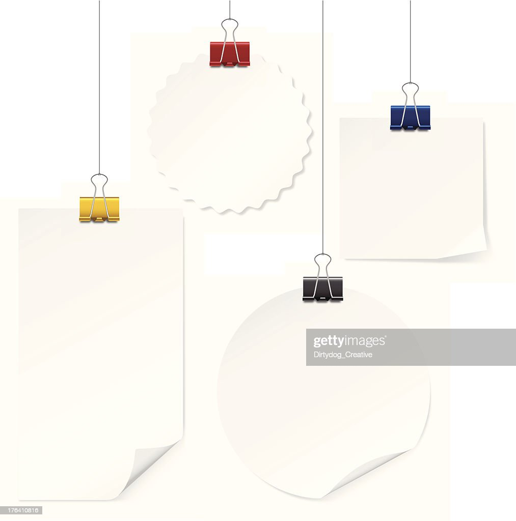 Blank notes hanging