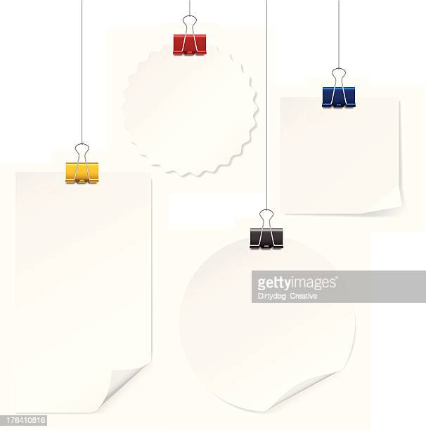 blank notes hanging - paper clip stock illustrations, clip art, cartoons, & icons