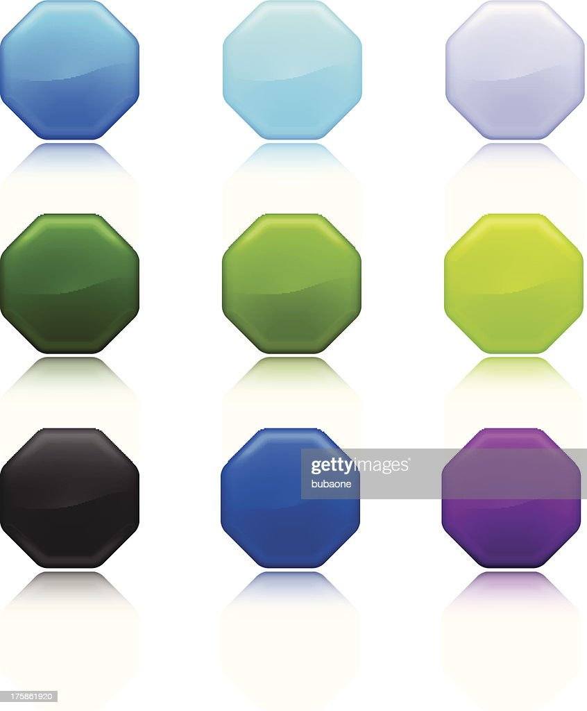 Blank Octagon royalty free vector art Full Color Set