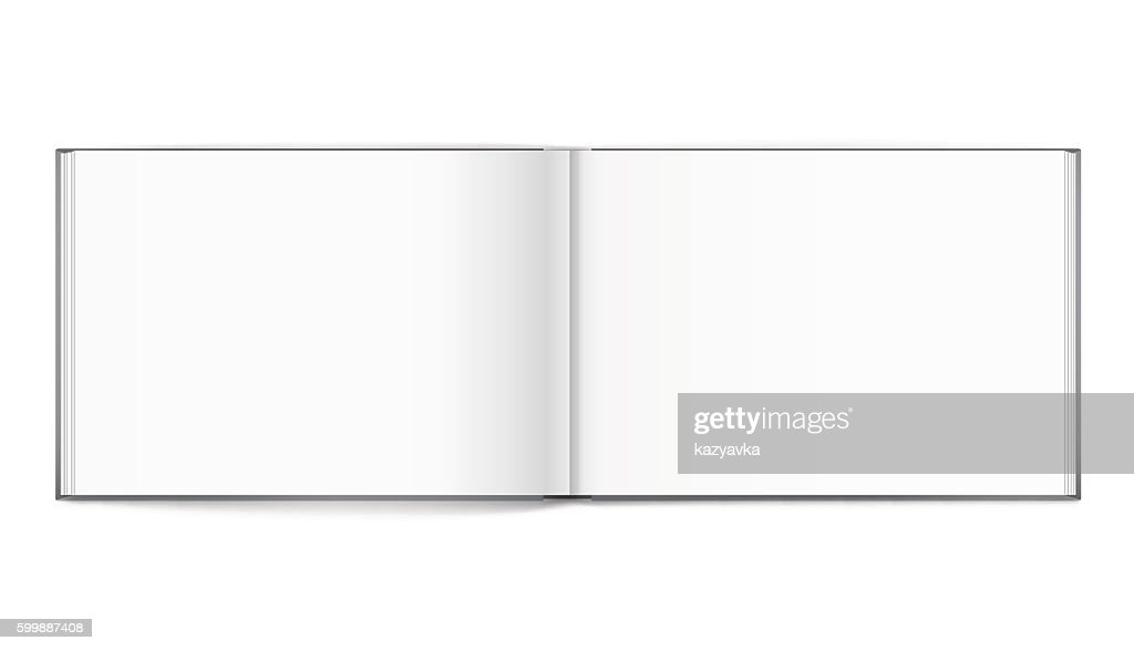 Blank of open album with cover on white background. Template