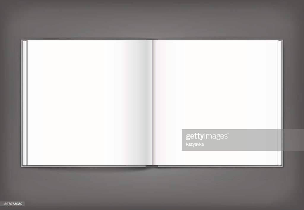 Blank of open square magazine on grey background. Template