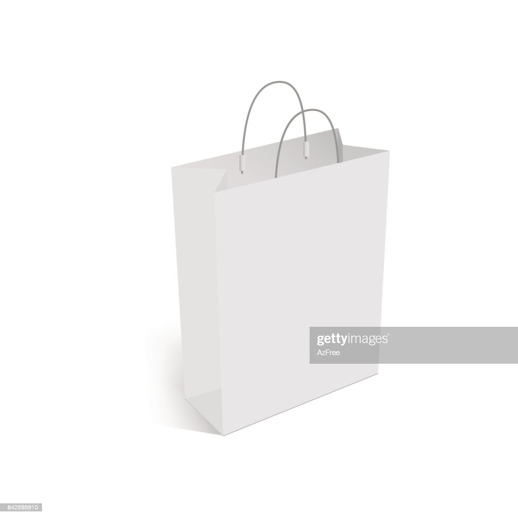 Blank of shopping bag with handle mockup. Vector.