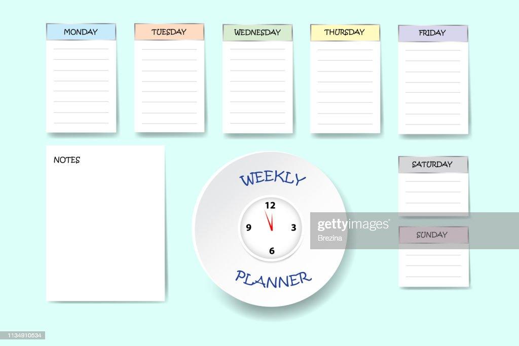 Blank office weekly planner