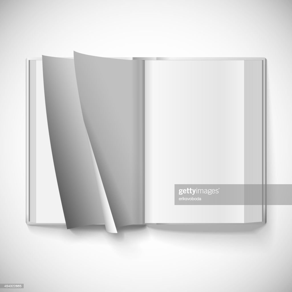 Blank open book, turn the pages