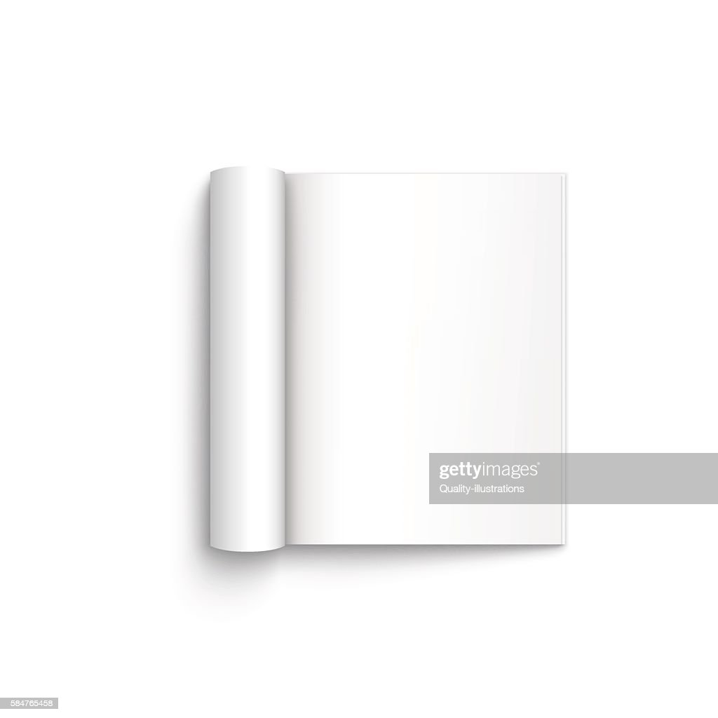 Blank open magazine template on white background