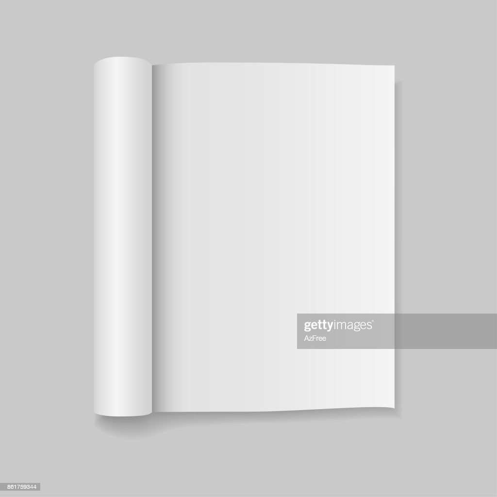 Blank open magazine template with rolled pages. Vector illustration.