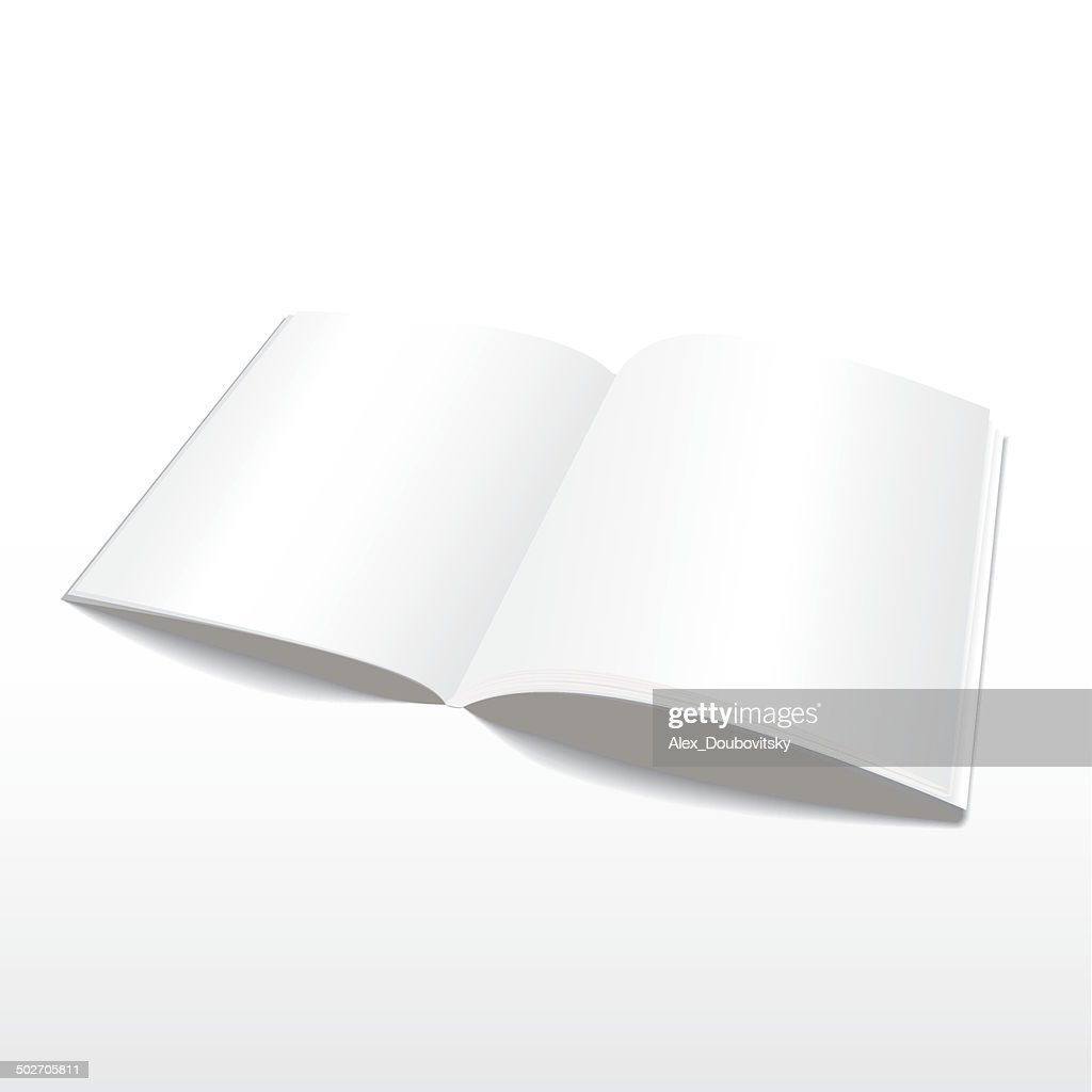 Blank open magazine vector template.
