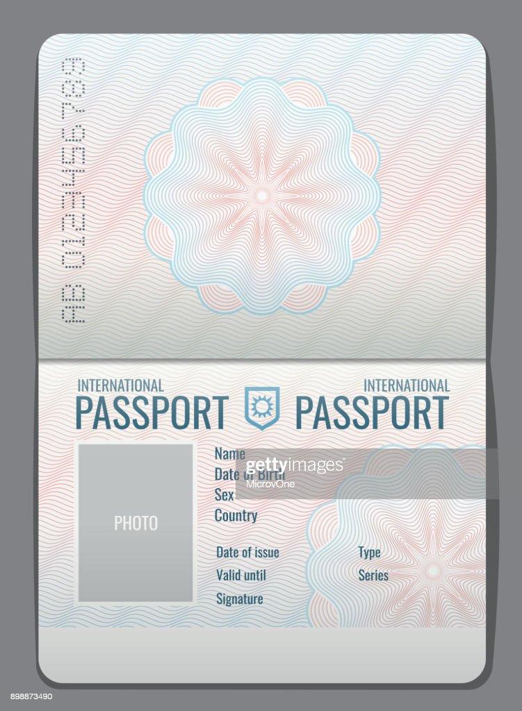 Blank open passport template isolated vector illustration