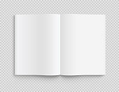 Blank opened book, magazine and notebook template with soft shadows on transparent background. Front view. - stock vector.