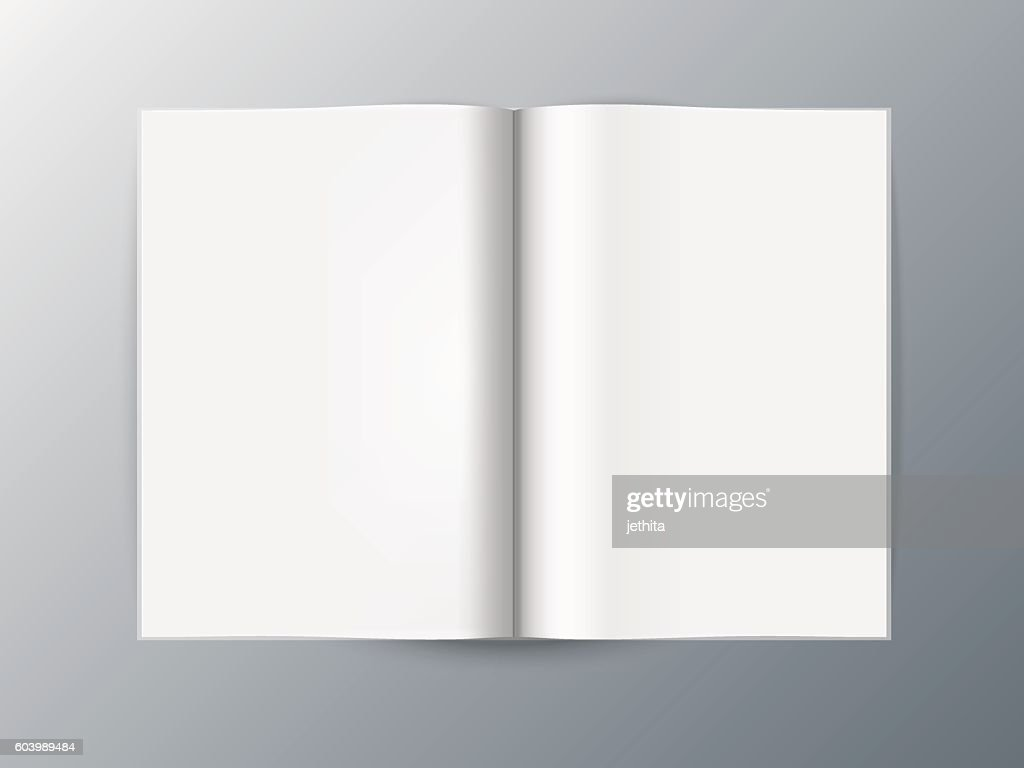 Book Template   Blank Opened Magazine Book Template Vektorgrafik Getty Images