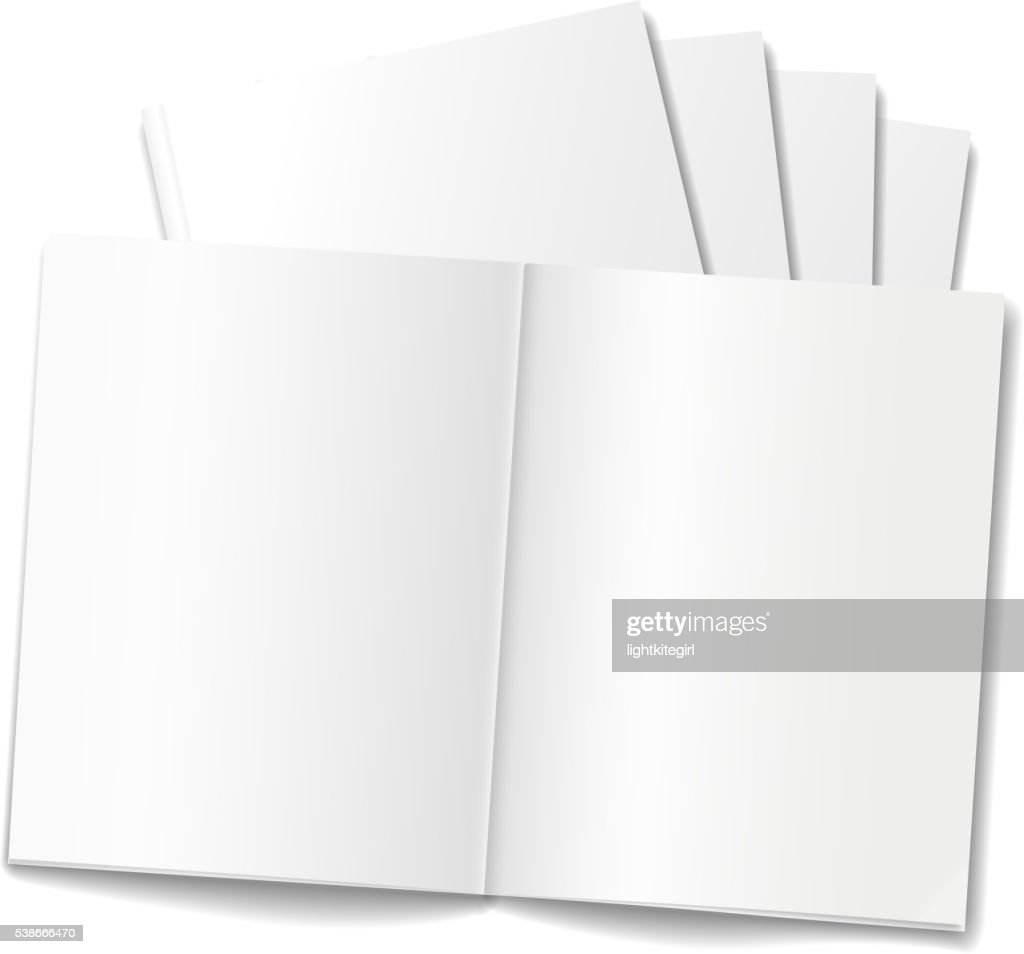 Blank Opened Magazine Or Books Template On White Background Vector