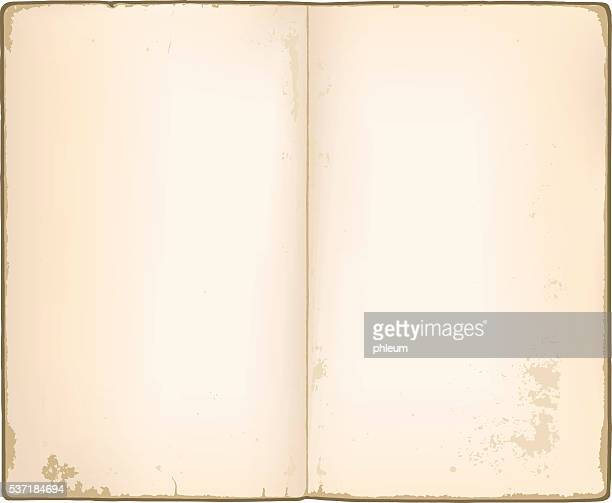 blank pages in old notebook - old book stock illustrations