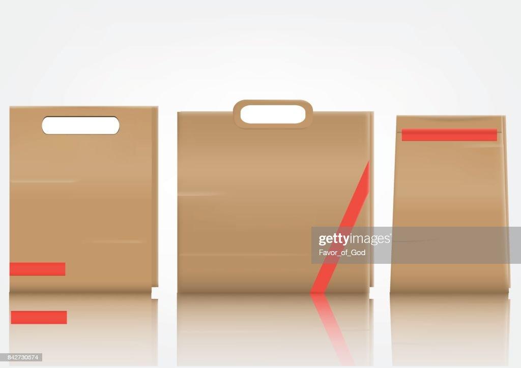 Blank paper bag set on white background, Vector illustration.